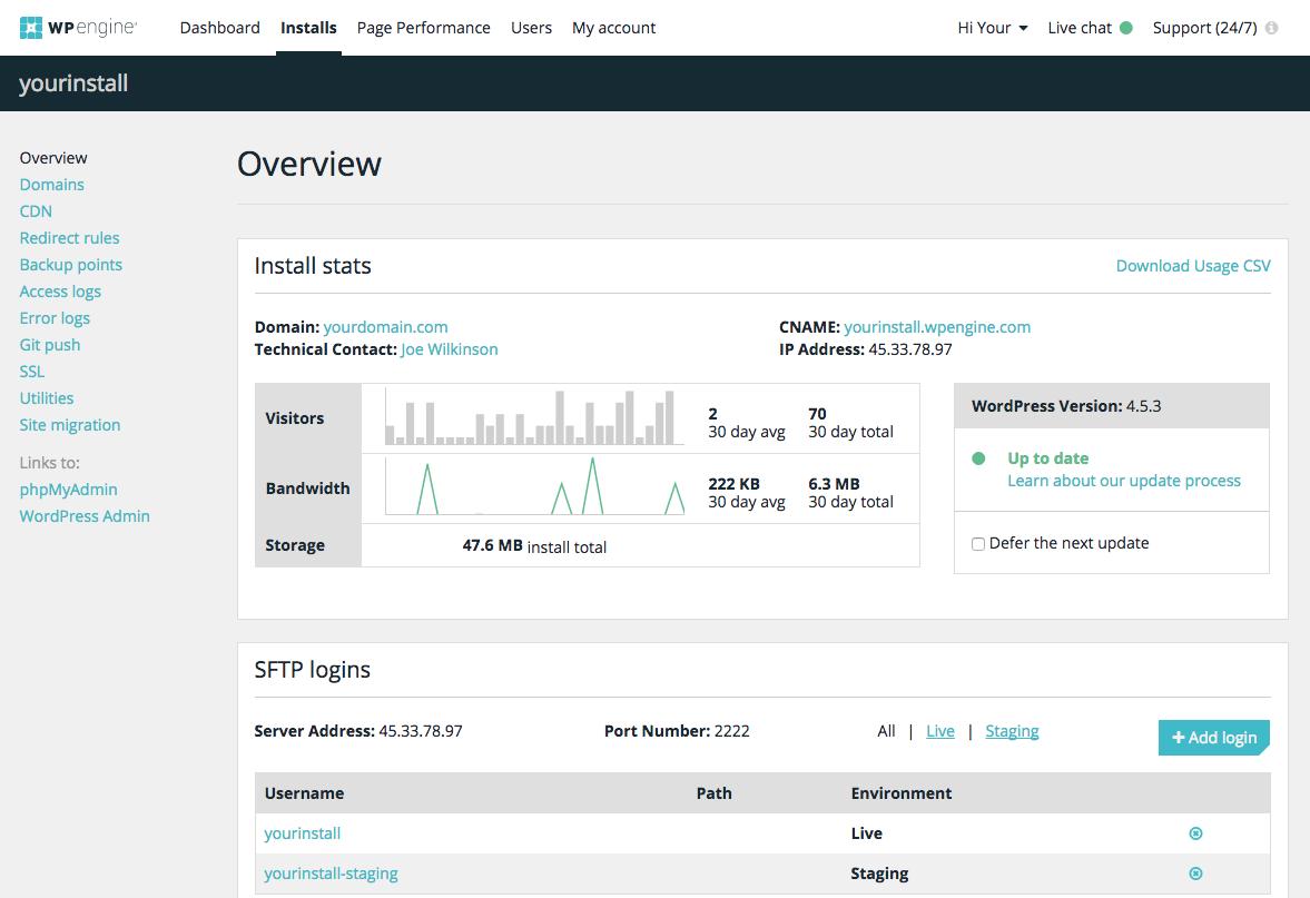 Portal de administración de WPEngine. Muy sencillo de usar.
