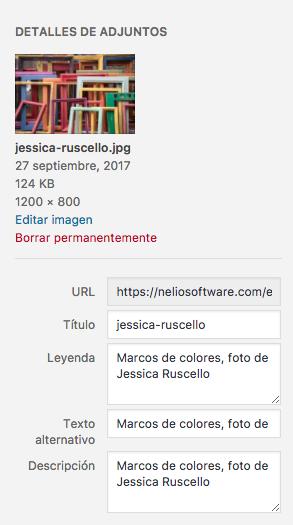 No te olvides de rellenar los campos de tus imágenes con contenido útil tanto para buscadores como para lectores de pantalla (usados por personas con problemas visuales).