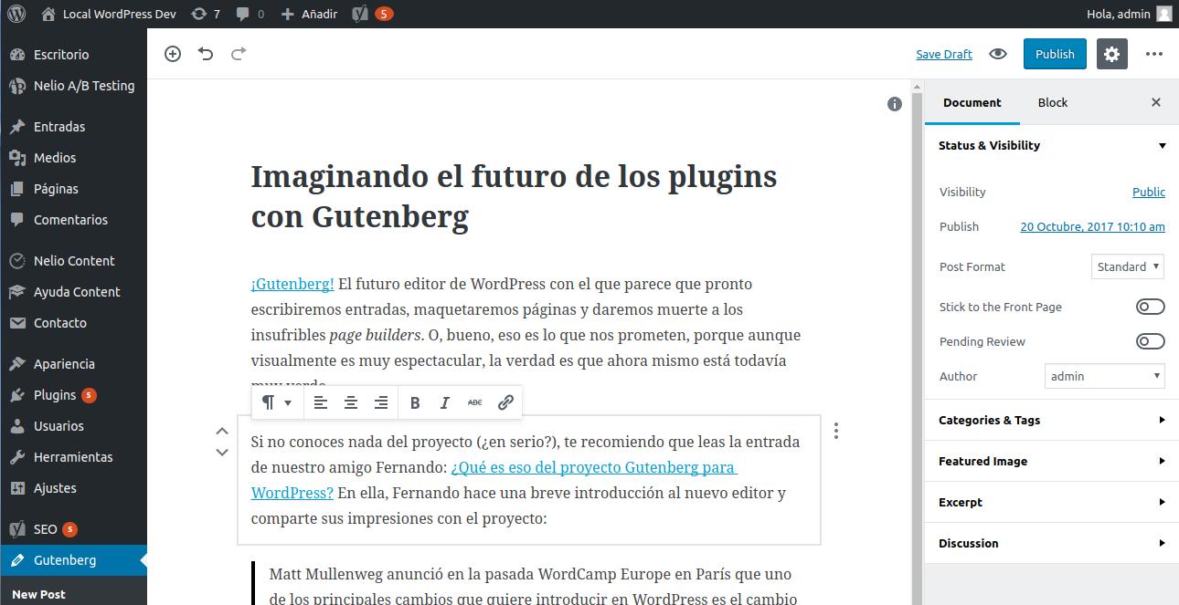 Captura de pantalla de Gutenberg