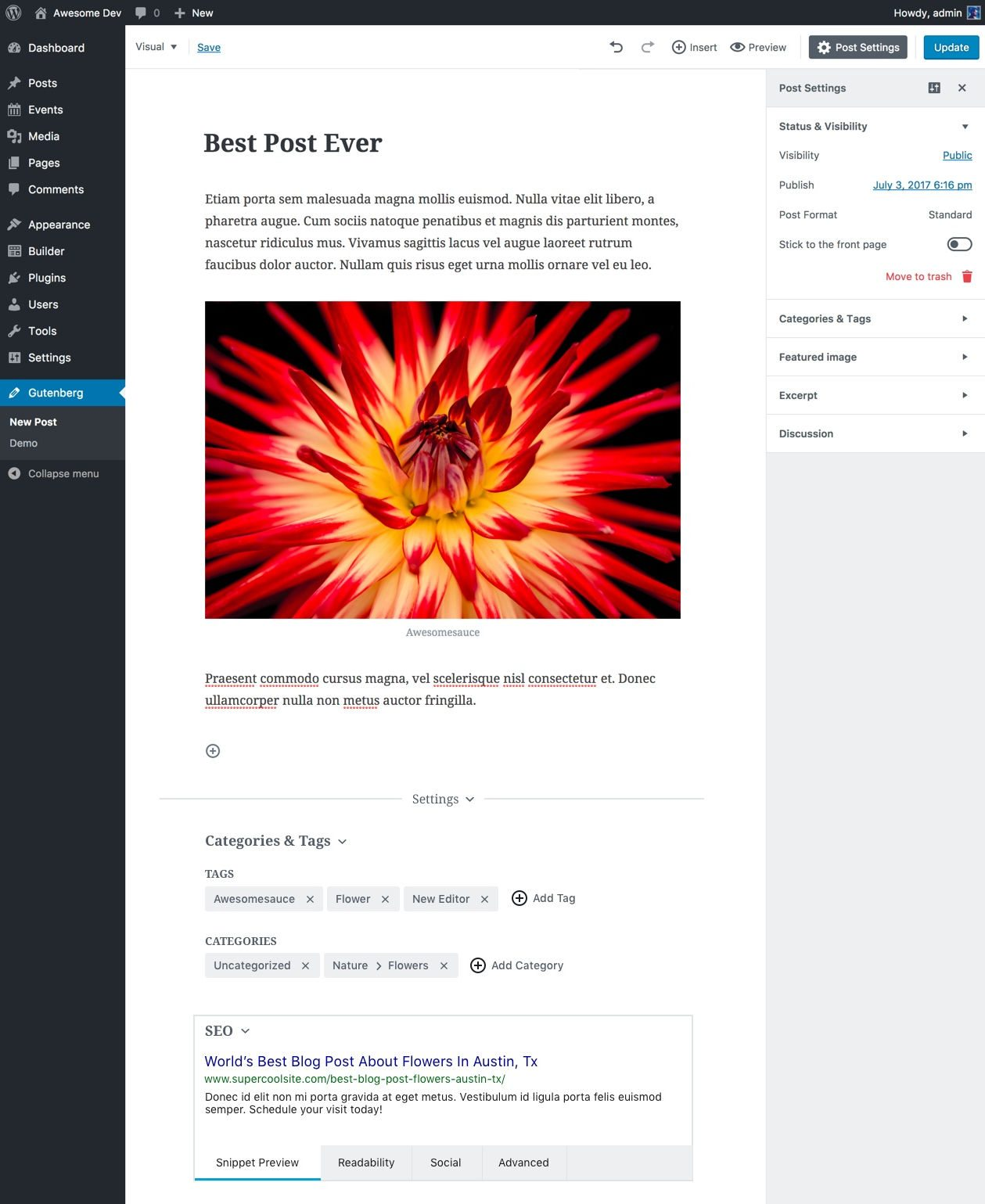 Integrando los campos de las cajas en el propio editor