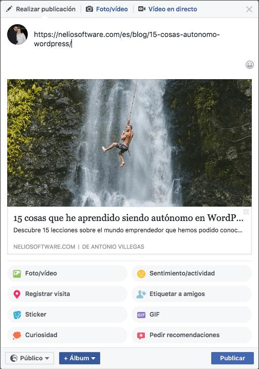 Tarjeta de Facebook que se crea automáticamente cuando compartes una URL.