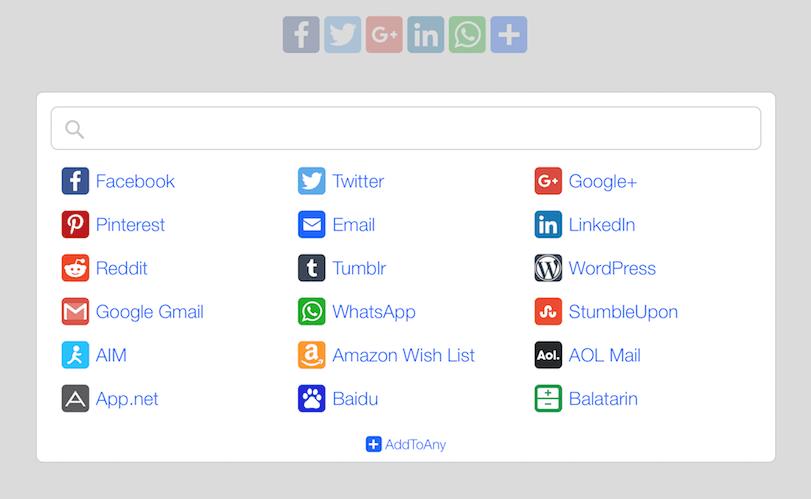 'Add To Any' añade una barra de iconos sociales para que tus visitantes compartan tu contenido en sus perfiles.