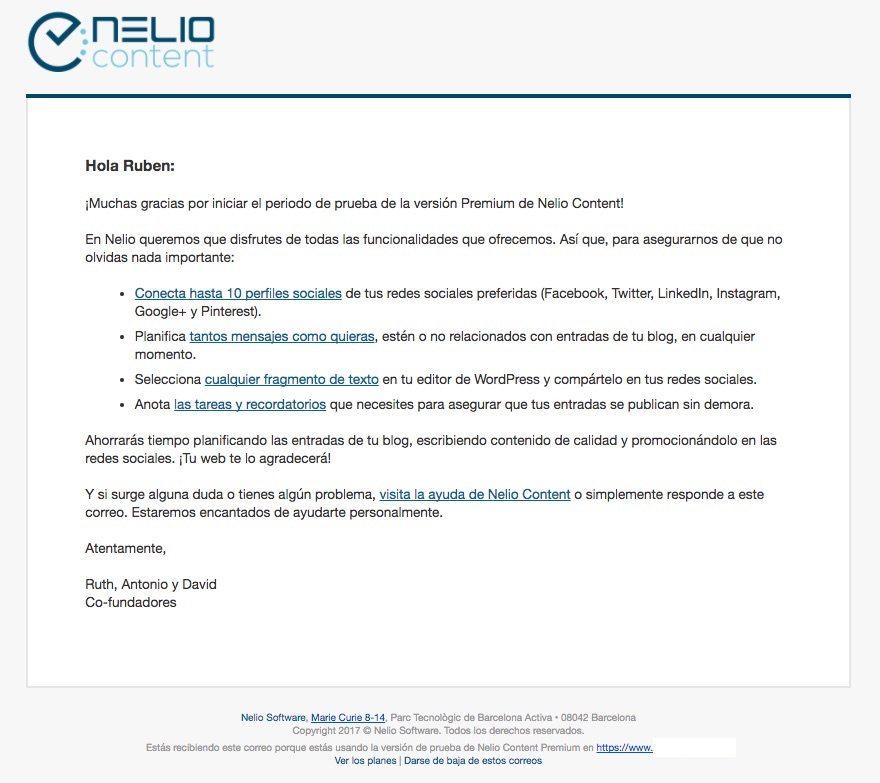 Correo electrónico de bienvenida al periodo de prueba de la versión premium de Nelio Content.