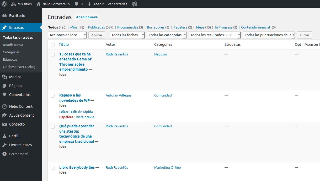 Lista de entradas de WordPress