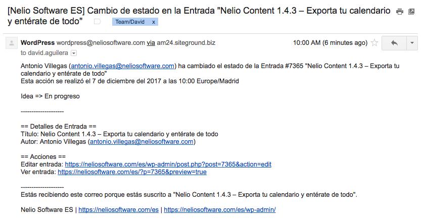 Ejemplo de notificación de cambio de estado de una entrada enviado por Nelio Content.