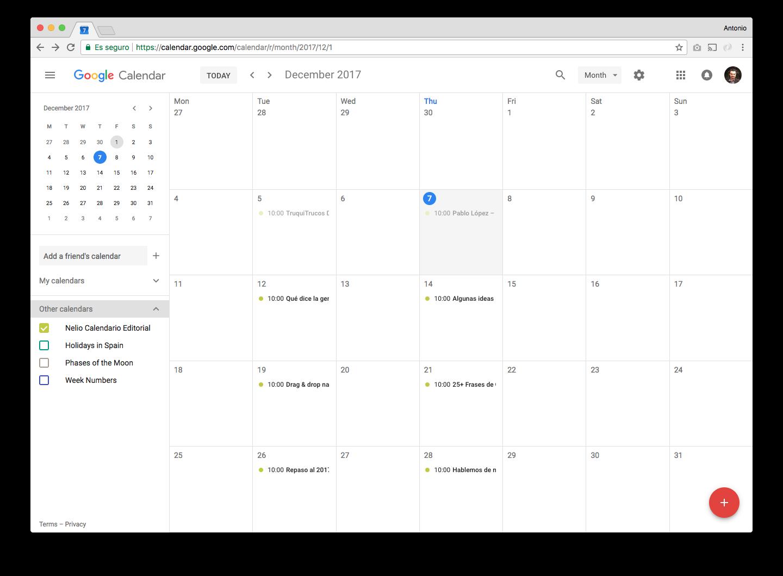 Ahora podemos ver el calendario de entradas de nuestro blog directamente desde Google Calendar.