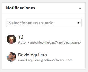 Metabox de notificaciones de Nelio Content, donde puedes añadir a los usuarios interesados en recibir notificaciones sobre una entrada concreta.