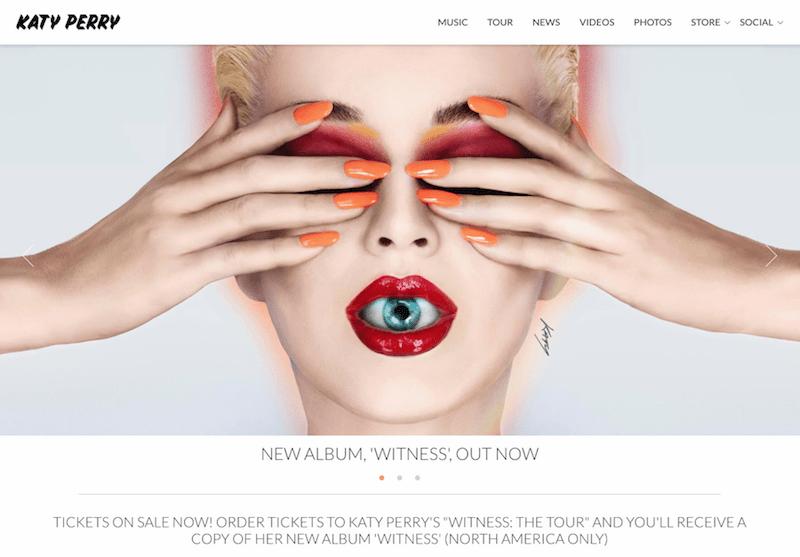 Web de Katy Perry