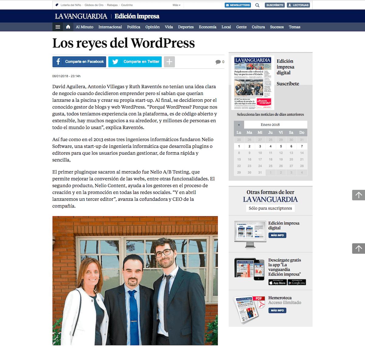 Los reyes del WordPress en La Vanguardia