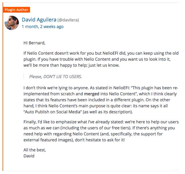 La respuesta de David a una crítica negativa, intentando ayudar y siempre con educación y buenas maneras.