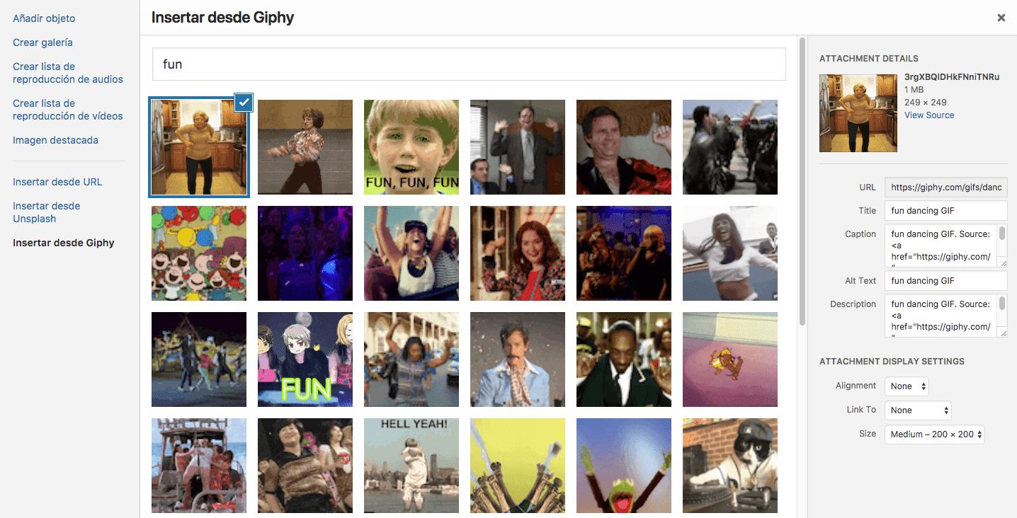 Insertar giphy en WordPress con Nelio Content