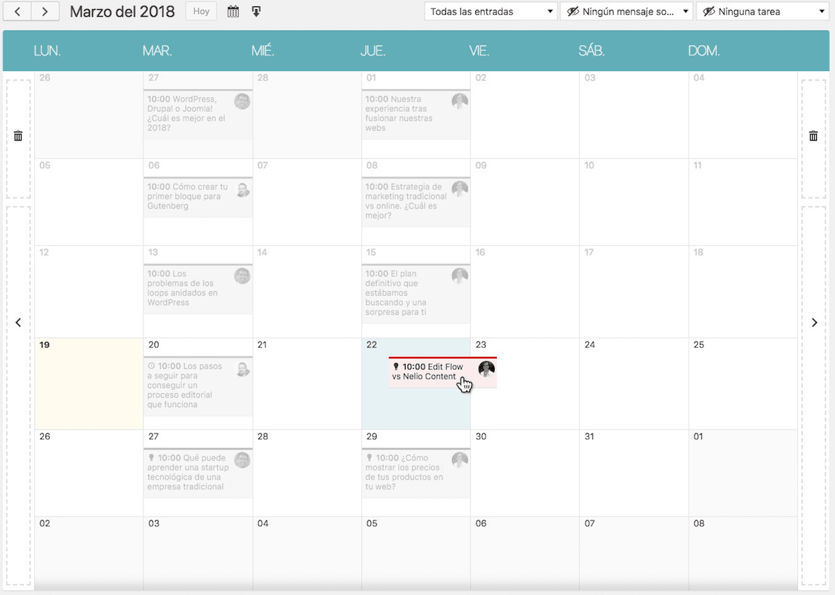 Calendario editorial drag-and-drop de Nelio Content.