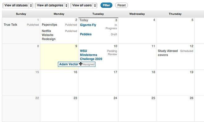 Calendario de Edit Flow