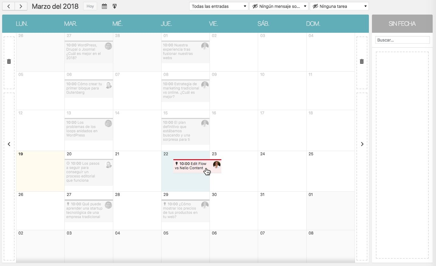 Nelio Content calendario drag-and-drop