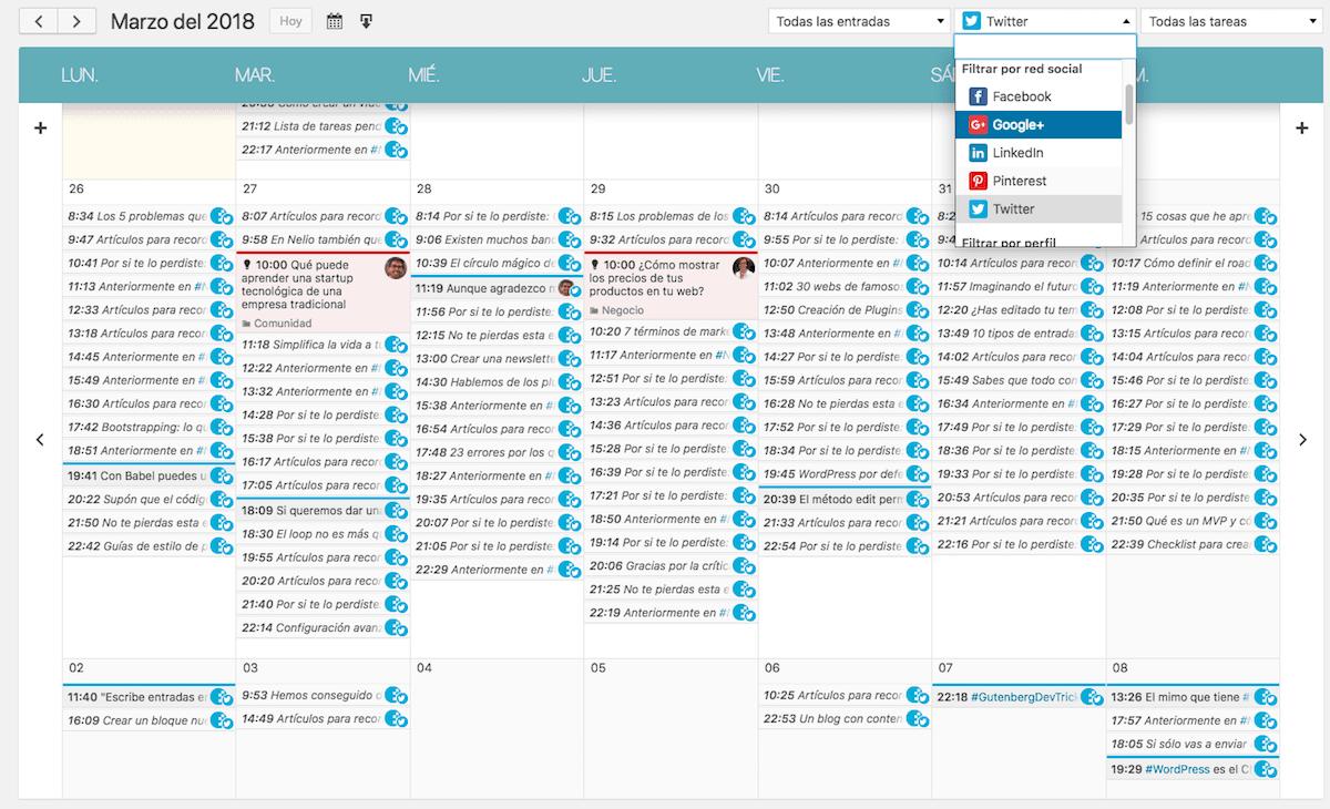 Visualización del calendario editorial de Nelio Content.