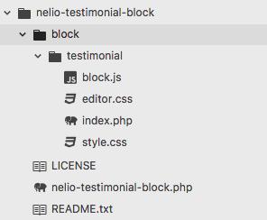 Estructura de archivos para el plugin que añade el bloque de testimonio en Gutenberg.