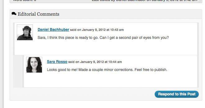 Comentarios editoriales en Edit Flow