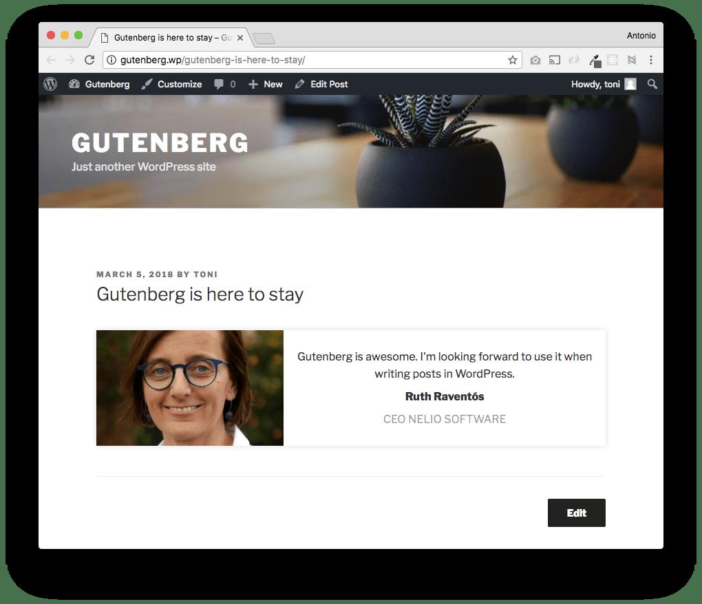 Los visitantes de nuestra web verán el bloque correctamente cuando añadimos los estilos CSS oportunos a style.css.