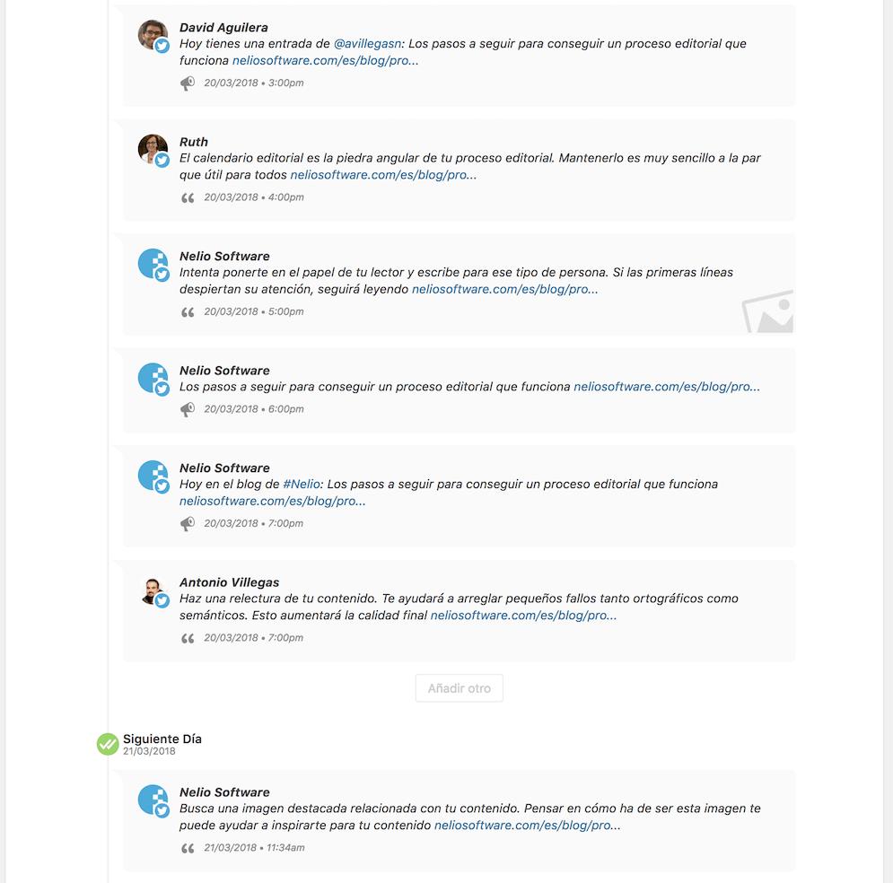 Aquí puedes ver algunos de los mensajes creados automáticamente por Nelio Content a partir del contenido de esta entrada.