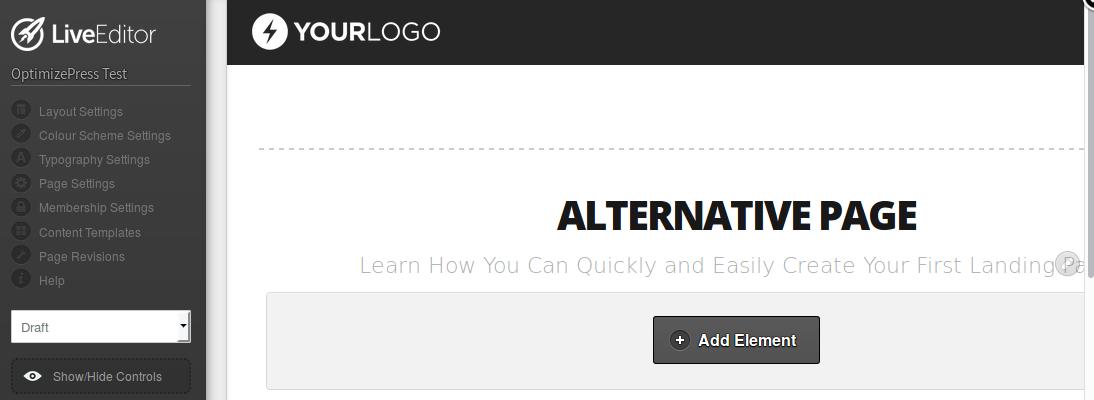 Nuevo título para la página alternativa
