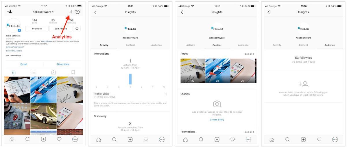 Analíticas de un perfil business de Instagram donde puedes encontrar información de tu audiencia.