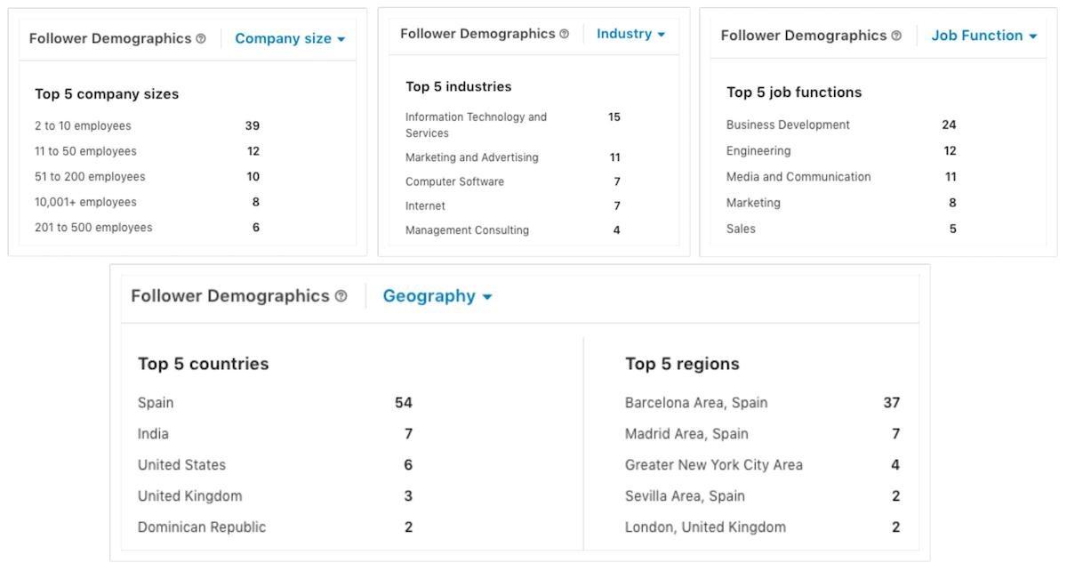 Datos demográficos de nuestra audiencia en LinkedIn.