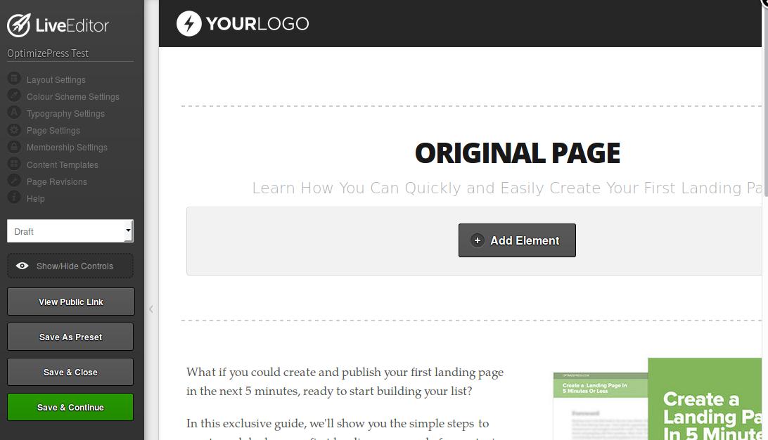 Página original creada con OptimizePress
