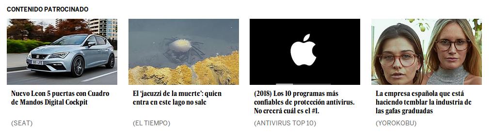 Ejemplos de clickbait en un periódico cualquiera de España