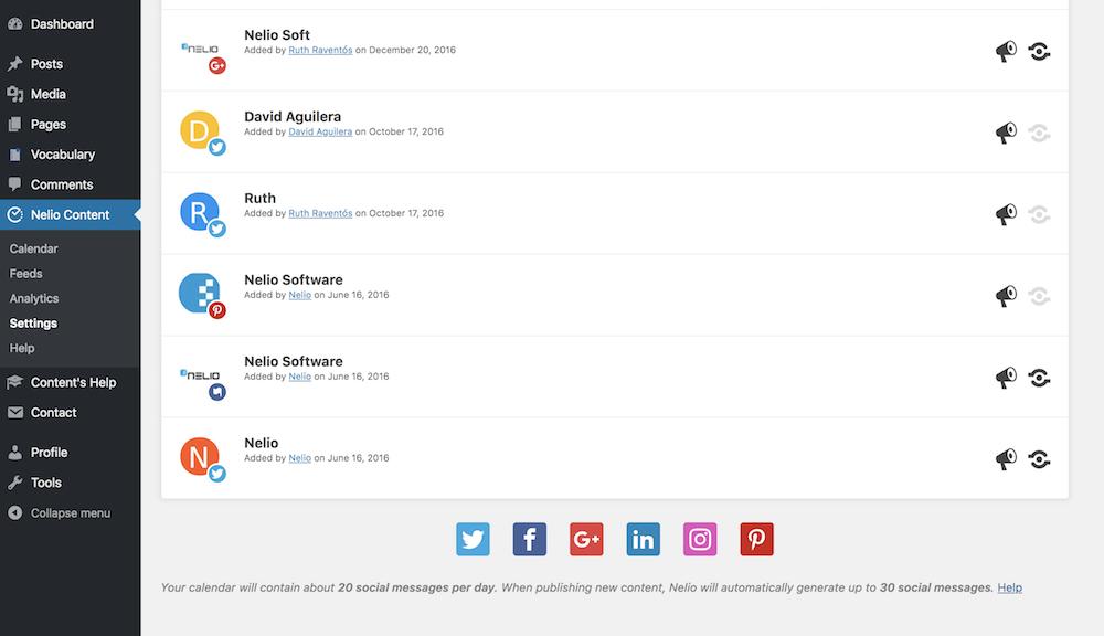 Puedes comprobar con tu configuración el número de mensajes automáticos que Nelio Content creará por ti.