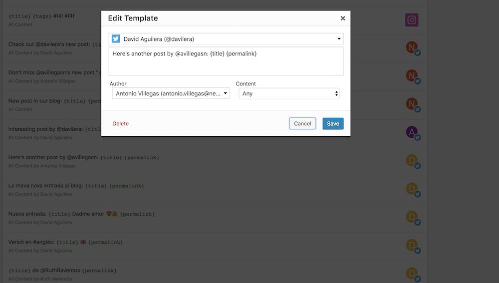 Ventana de edición de una plantilla social donde puedes configurar su funcionamiento.