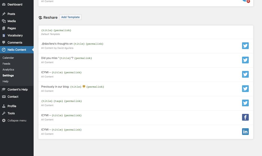 Lista de plantillas para volver a compartir contenido ya creado en tu WordPress.