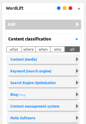 Meta caja de WordLift para seleccionar entidades