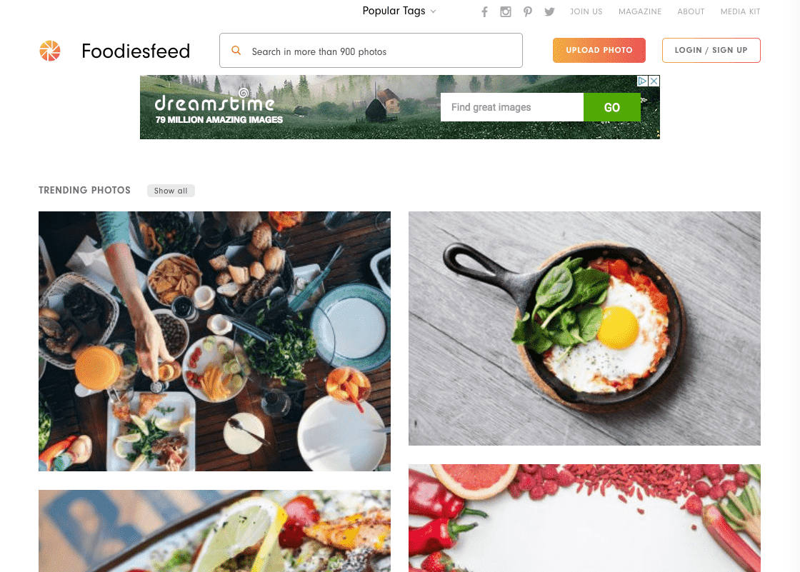 Captura de pantalla del sitio web FoodiesFeed