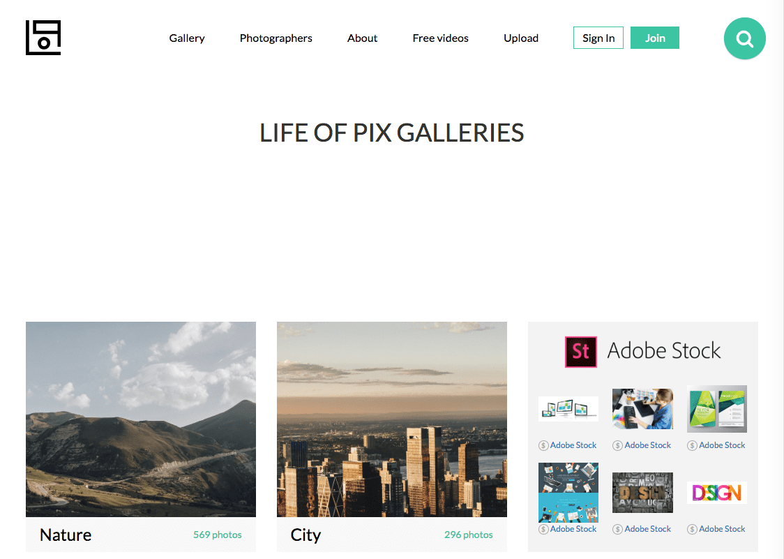 Captura de pantalla del sitio web de Life of Pix