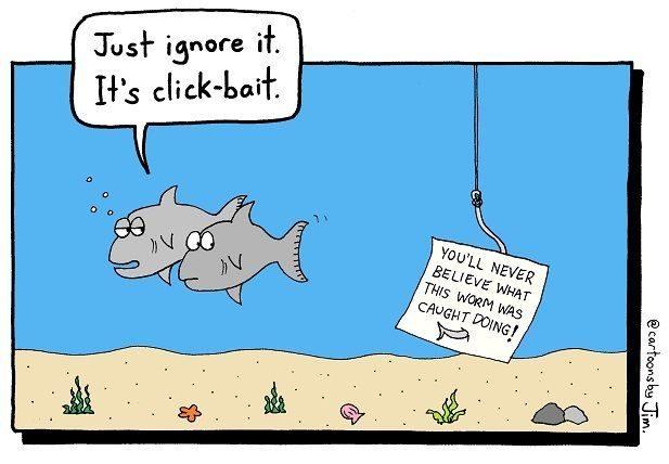 Peces ignorando el clickbait. Viñeta de @cartoonsbyjim.