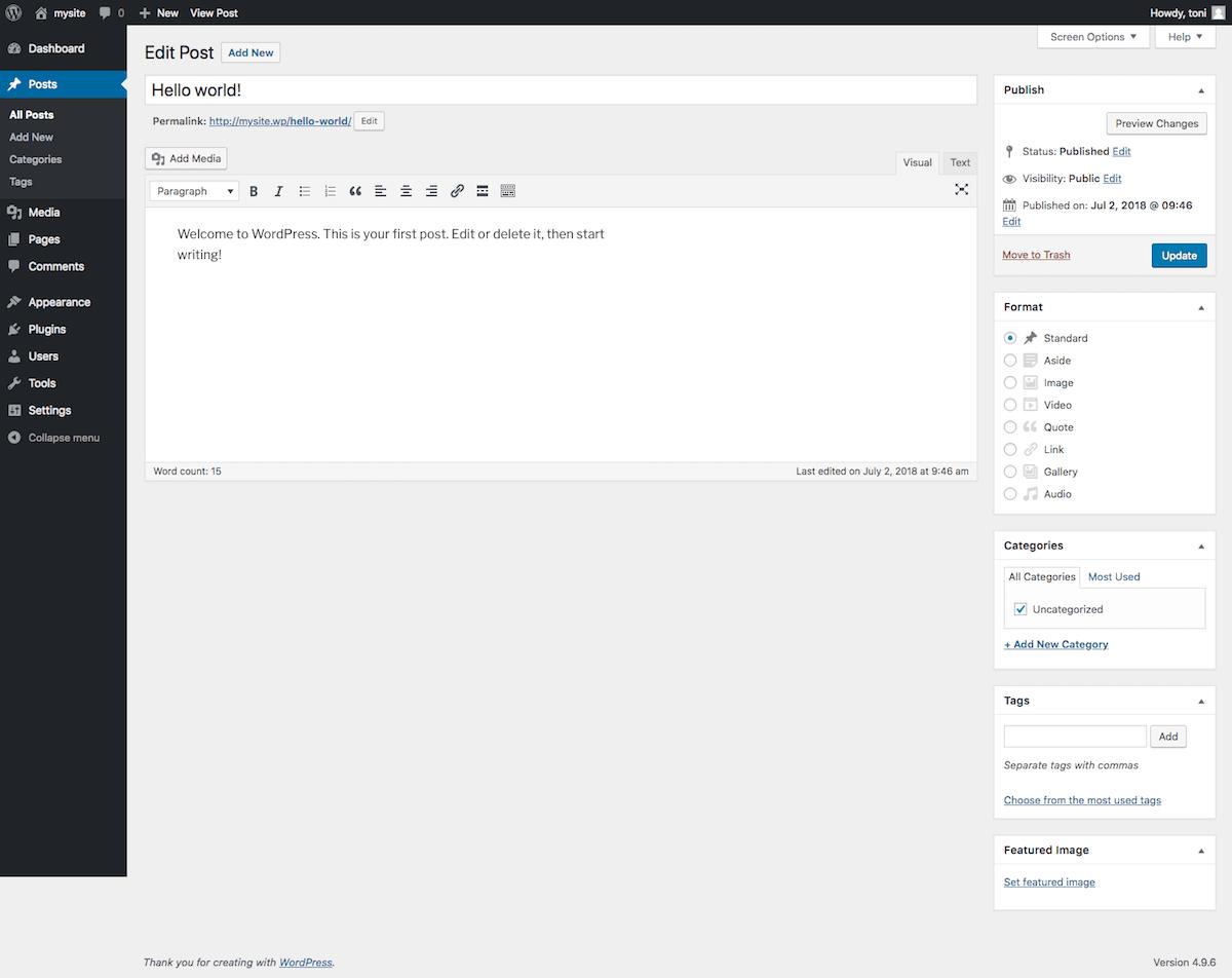 Editor de entradas de WordPress sin ningún plugin activado. El diseño es limpio y sencillo.