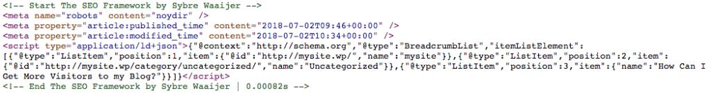 Metadatos añadidos por el plugin The SEO Framework.