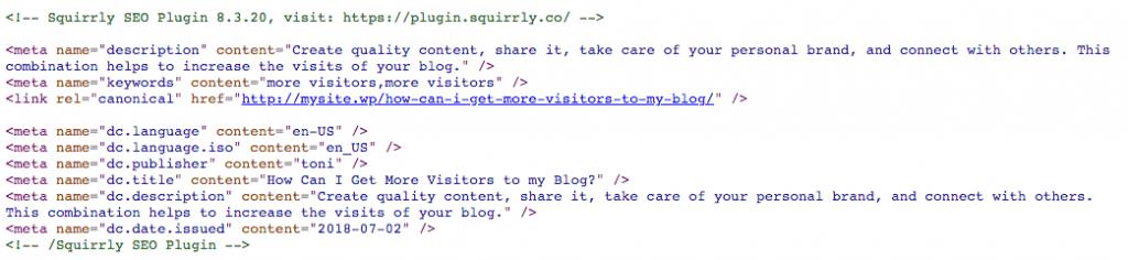 Metadatos añadidos por el plugin Squirrly.