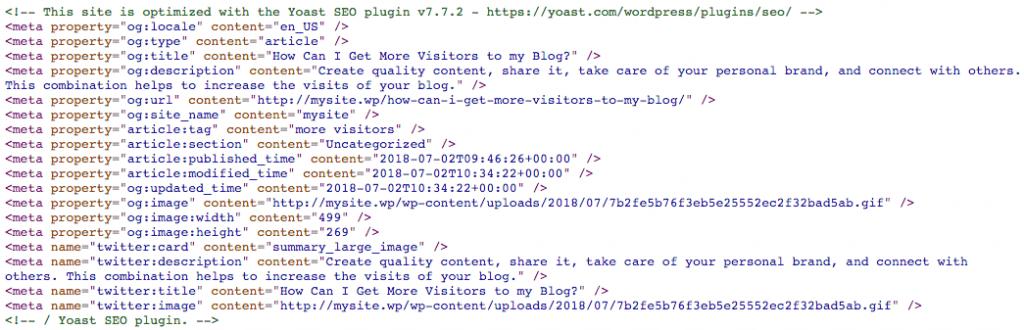 Metadatos añadidos por el plugin Yoast SEO.