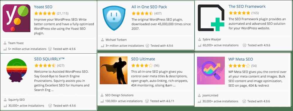 Plugins de SEO más importantes que encontrarás en el directorio de plugins de WordPress.