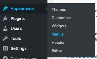 Captura de pantalla del escritorio de WordPress la cual mestra las diferentes opciones que hay bajo el menú «Apariencia»