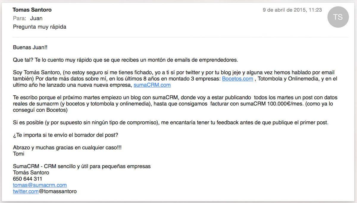 Email para influencers