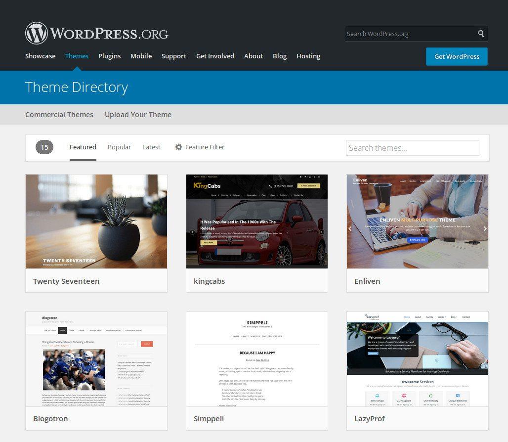 Directorio de temas de WordPress.org