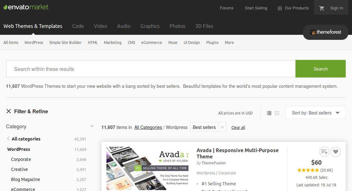 """Captura de pantalla de la web """"Themeforest"""""""