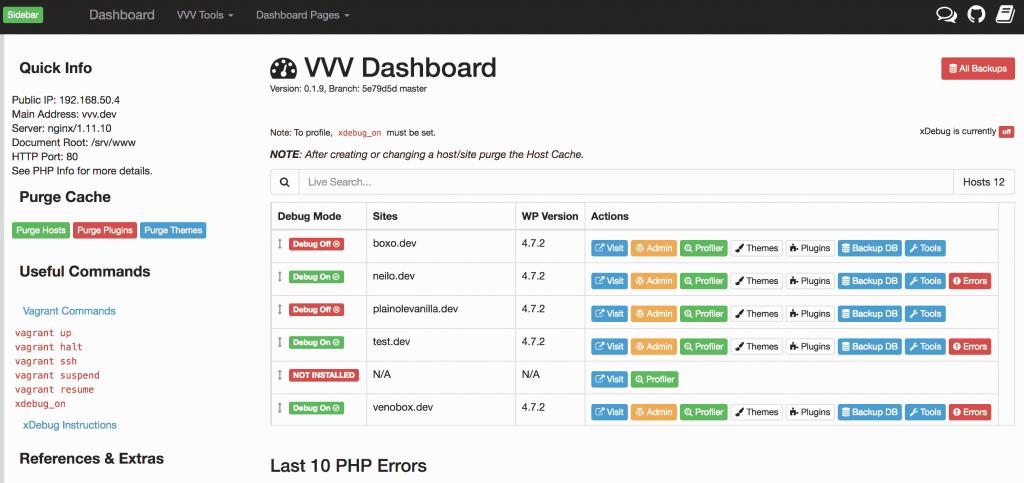 Con Vagrant y VVV podías instalar un Dashboard y ver y administrar tus instalaciones locales de WordPress.