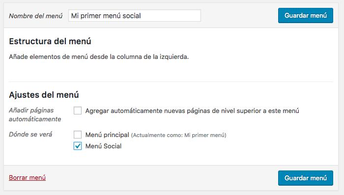 Creación de un nuevo menú social.