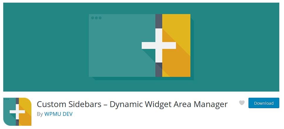Captura de pantalla del plugin Custom Sidebars, de WPMU DEV