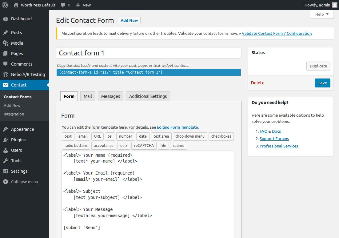 Edición de los formularios de contacto con Contact Form 7