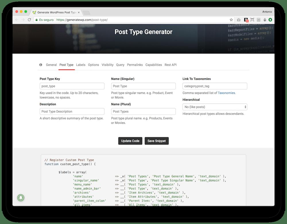 La forma más sencilla de crear el código para tu tipo de contenido personalizado en WordPress es con el generador de GenerateWP.