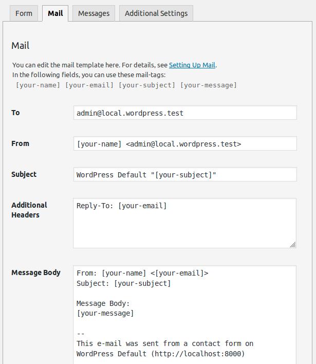 Configuración del correo que envía Contact Form 7